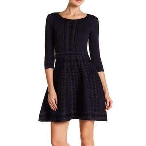 3/4 Sleeve Geometric Print Dress - Blue/Black